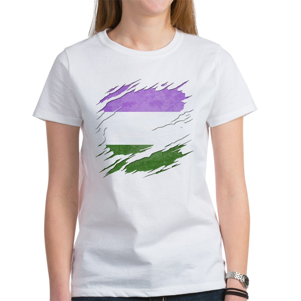 Genderqueer Pride Flag Ripped Reveal Women's T-Shirt