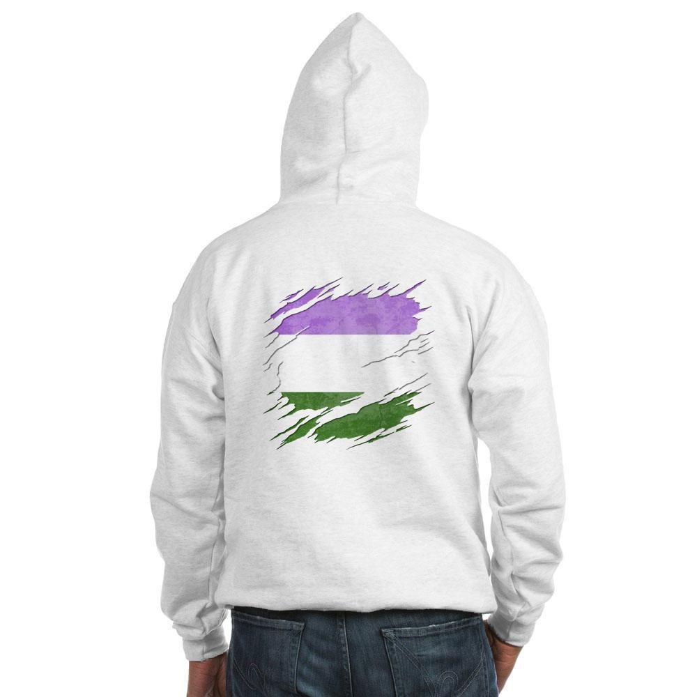 Genderqueer Pride Flag Ripped Reveal Hooded Sweatshirt