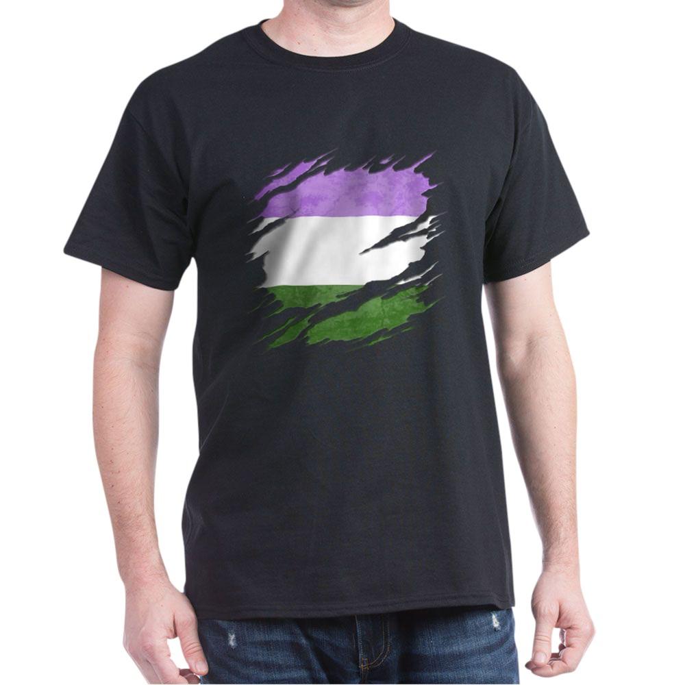 Genderqueer Pride Flag Ripped Reveal Dark T-Shirt