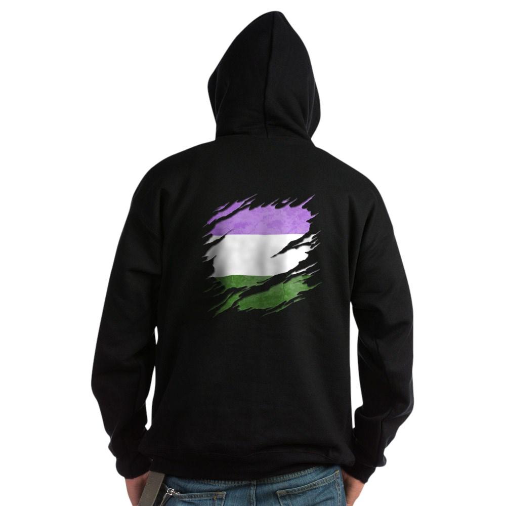 Genderqueer Pride Flag Ripped Reveal Dark Hoodie