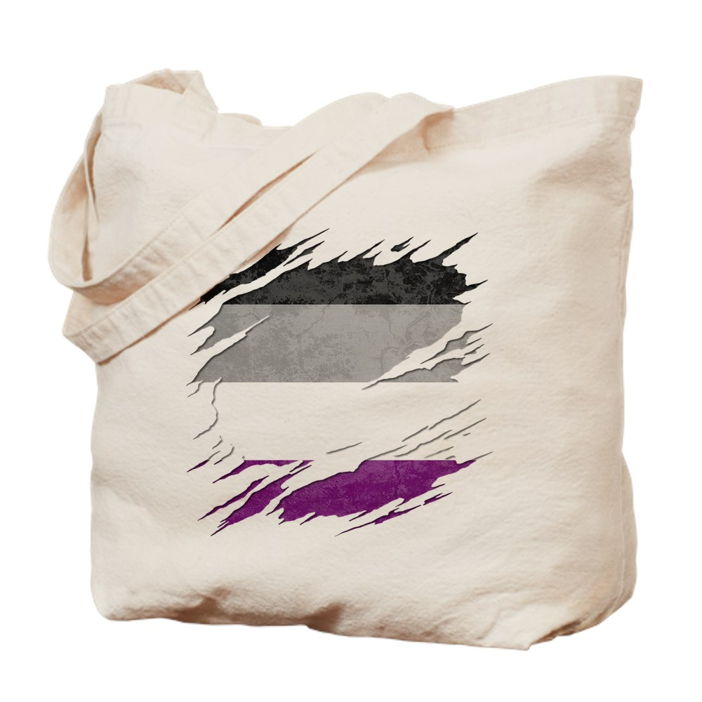 Asexual Pride Flag Ripped Reveal Tote Bag