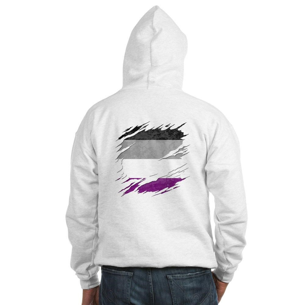 Asexual Pride Flag Ripped Reveal Hooded Sweatshirt