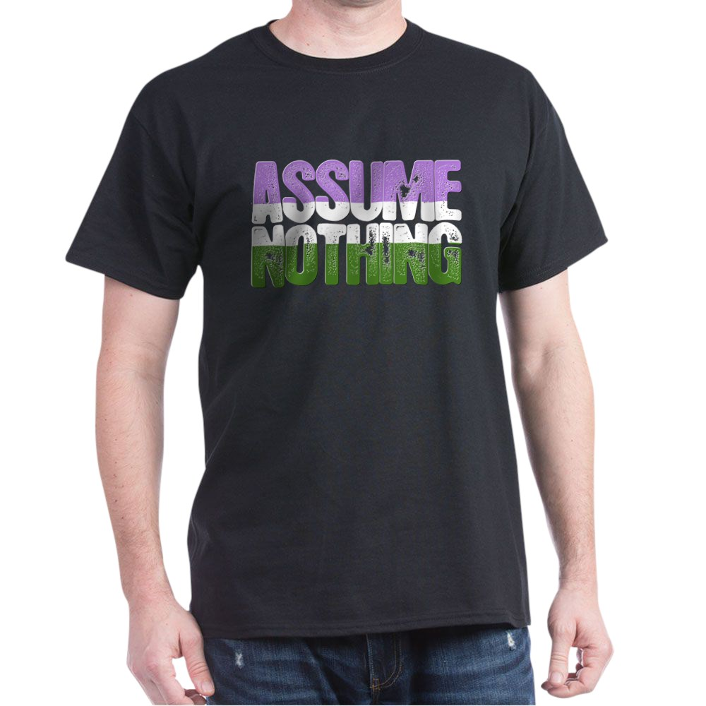 Assume Nothing Genderqueer Pride Dark T-Shirt