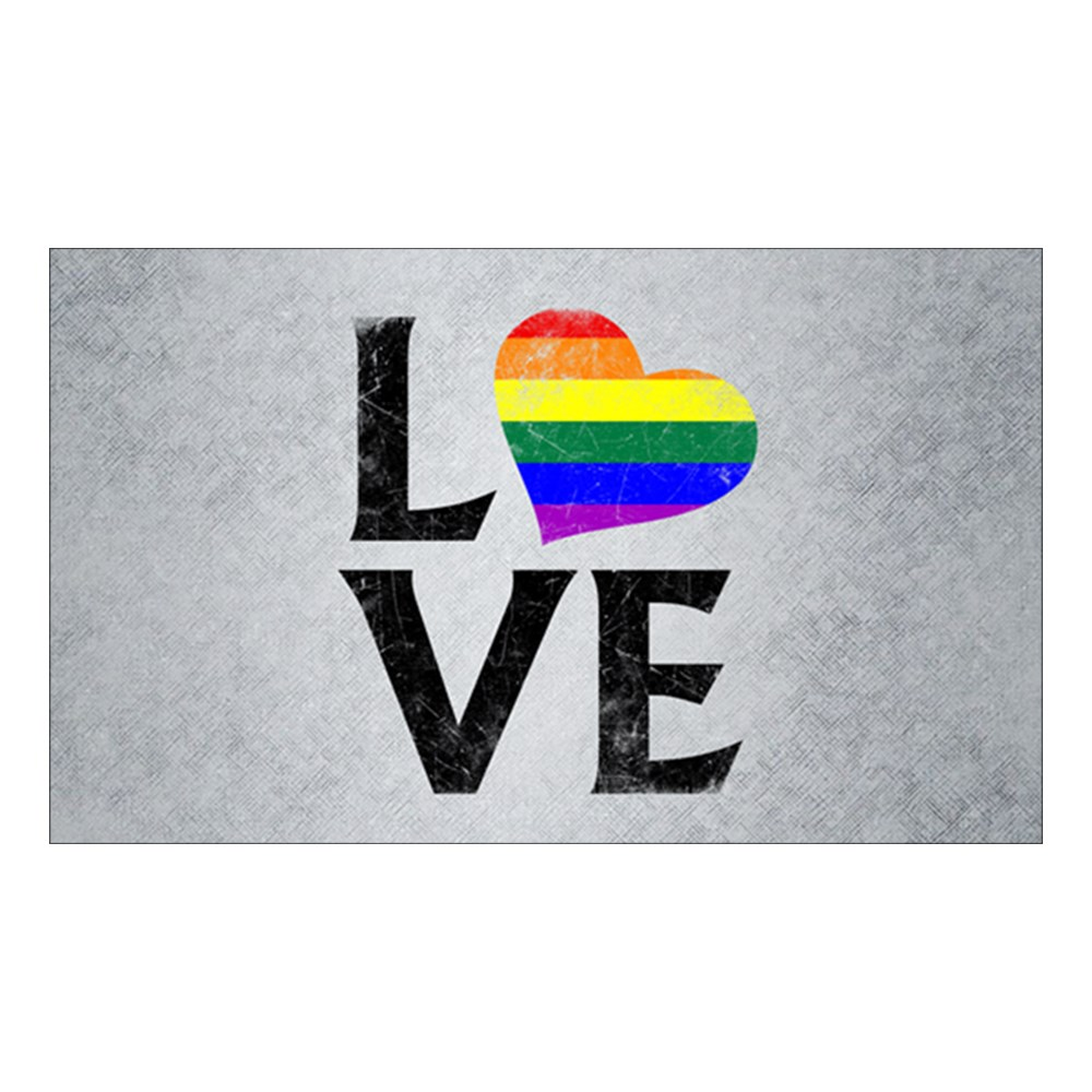 LGBT Gay Pride Flag Heart Stacked Love Rectangle Sticker