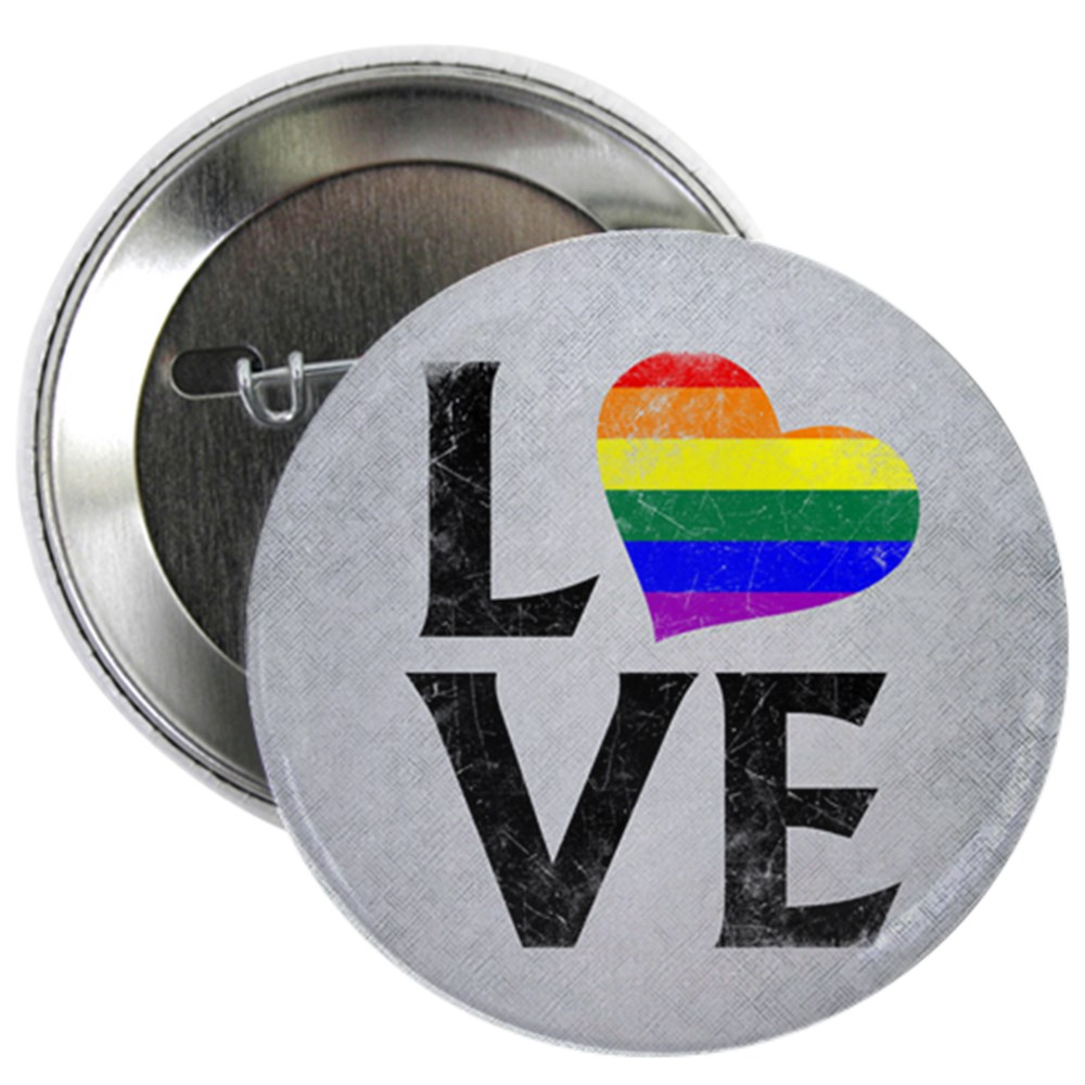 LGBT Gay Pride Flag Heart Stacked Love 2.25