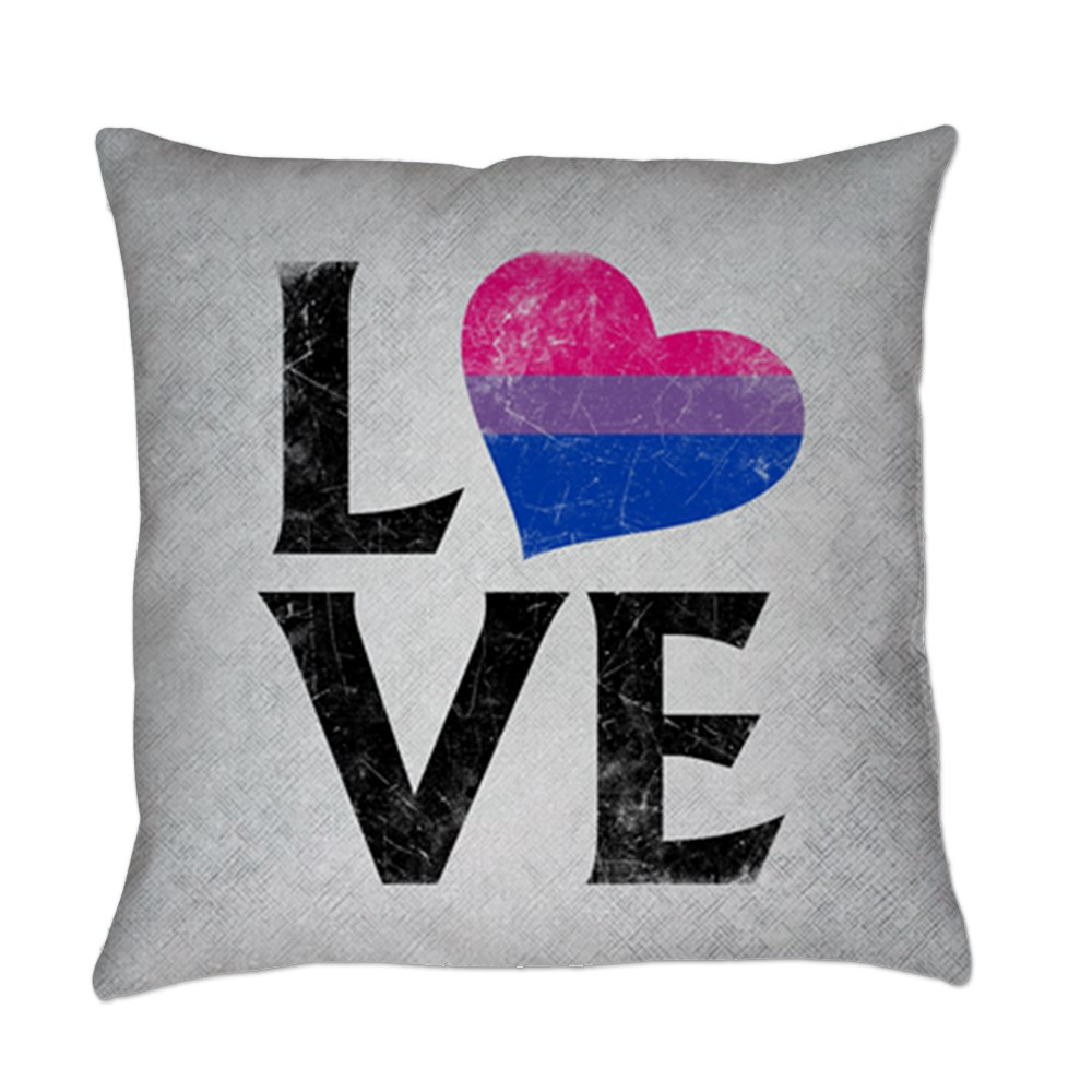 Bisexual Pride Flag Heart Stacked Love Everyday Pillow