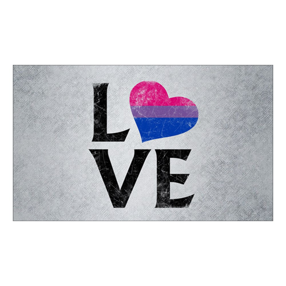 Bisexual Pride Flag Heart Stacked Love Rectangle Sticker