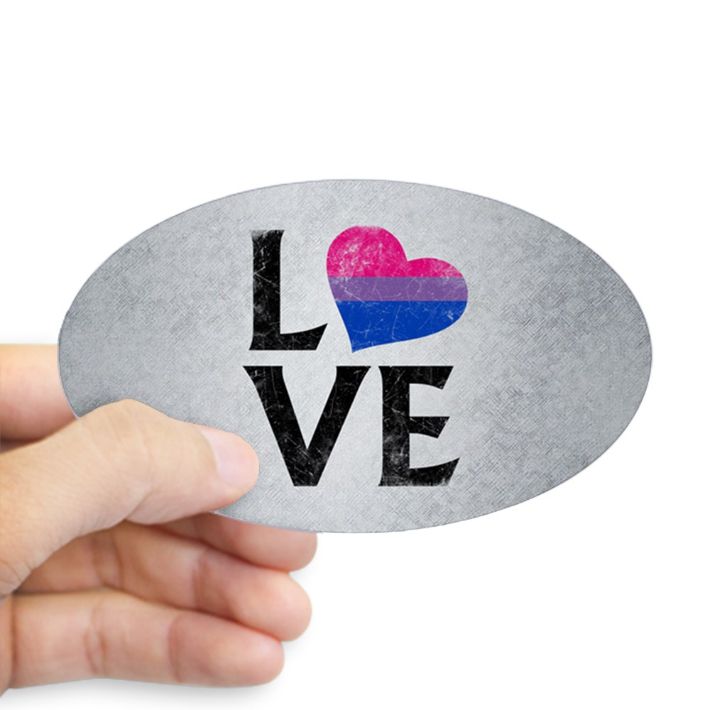 Bisexual Pride Flag Heart Stacked Love Oval Sticker