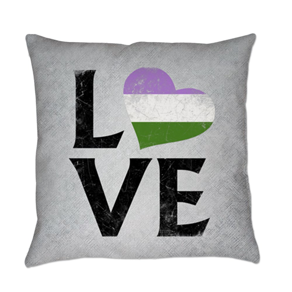 Genderqueer Pride Flag Heart Stacked Love Everyday Pillow