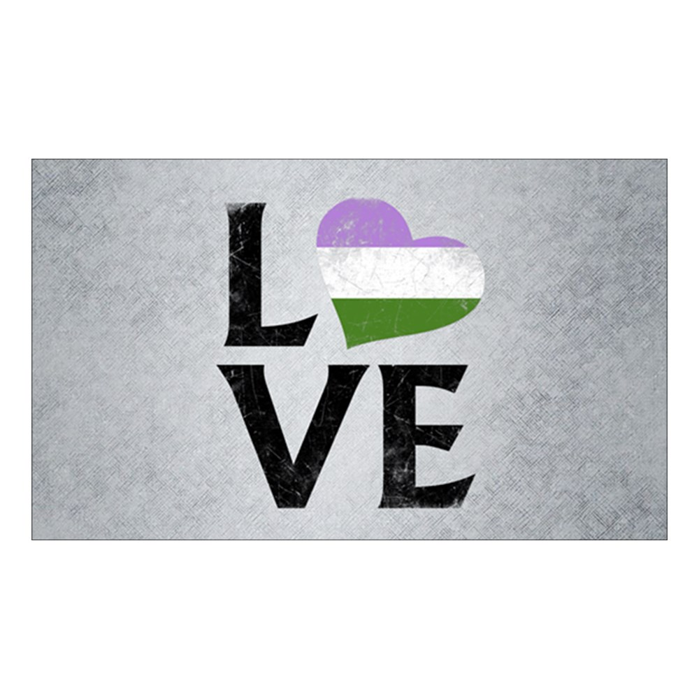 Genderqueer Pride Flag Heart Stacked Love Rectangle Sticker