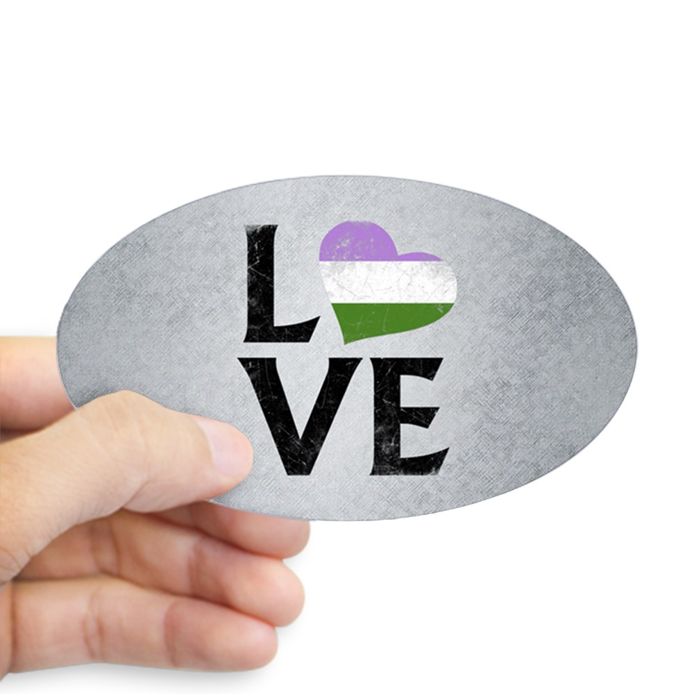 Genderqueer Pride Flag Heart Stacked Love Oval Sticker