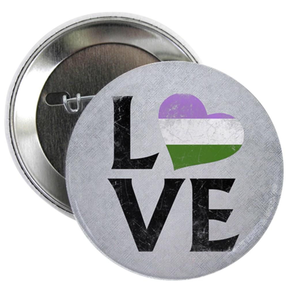 Genderqueer Pride Flag Heart Stacked Love 2.25