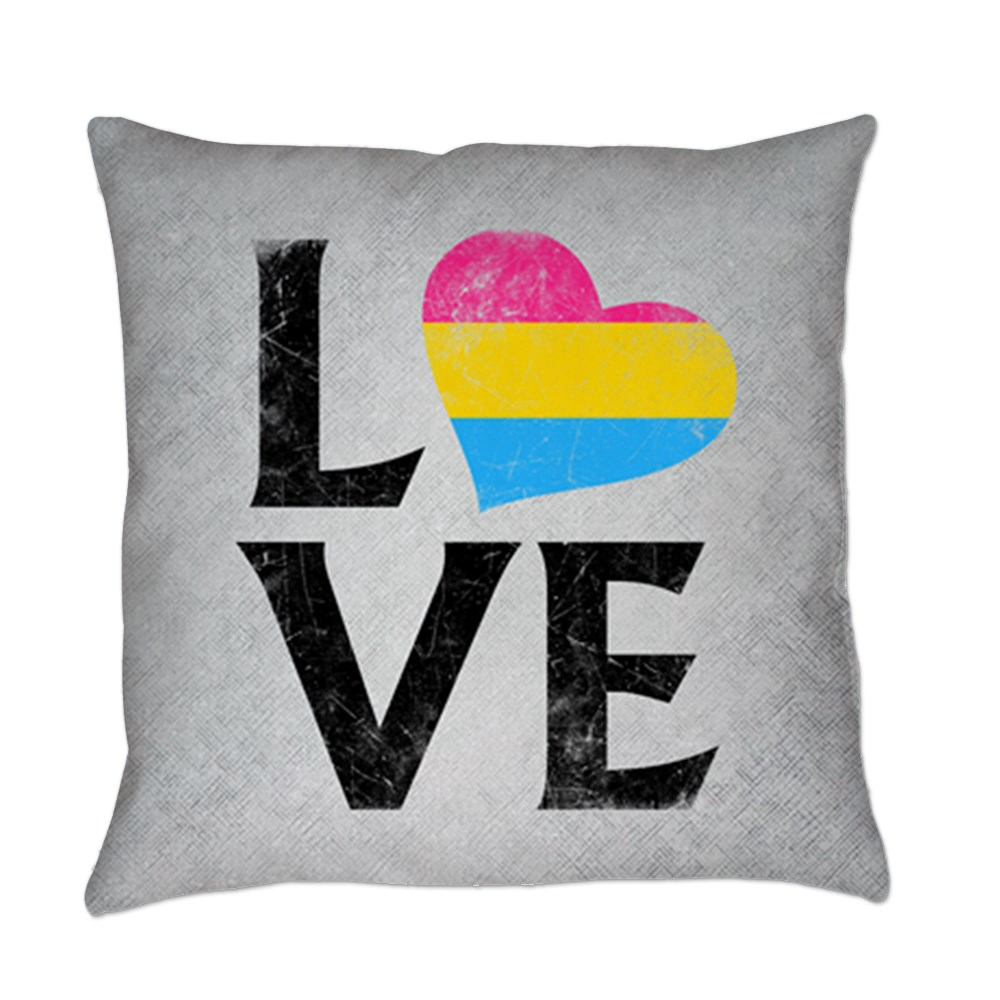 Pansexual Pride Flag Heart Stacked Love Everyday Pillow