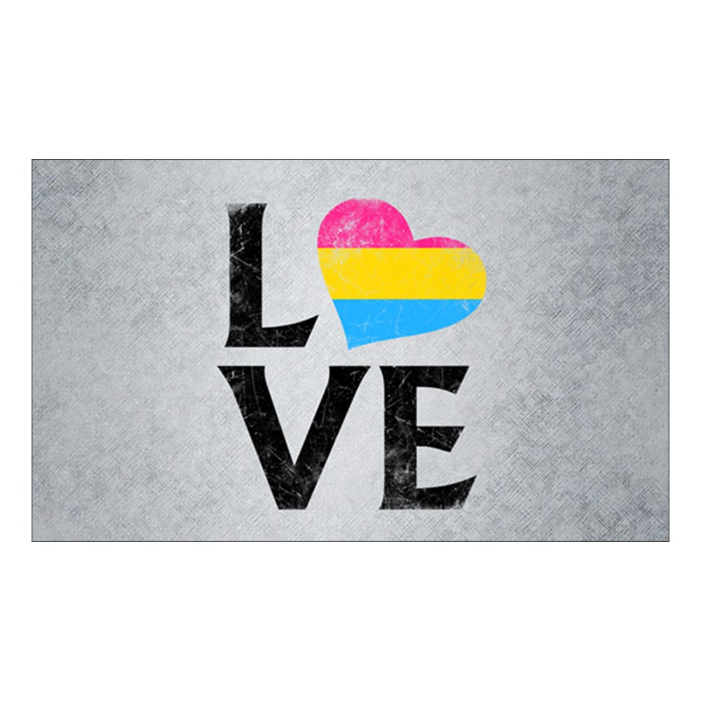Pansexual Pride Flag Heart Stacked Love Rectangle Sticker