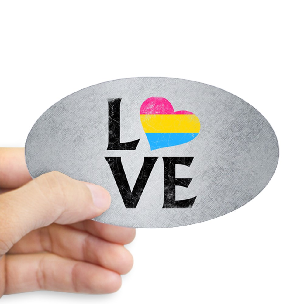 Pansexual Pride Flag Heart Stacked Love Oval Sticker