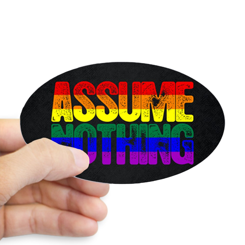 Assume Nothing Rainbow Gay Pride Flag Oval Sticker
