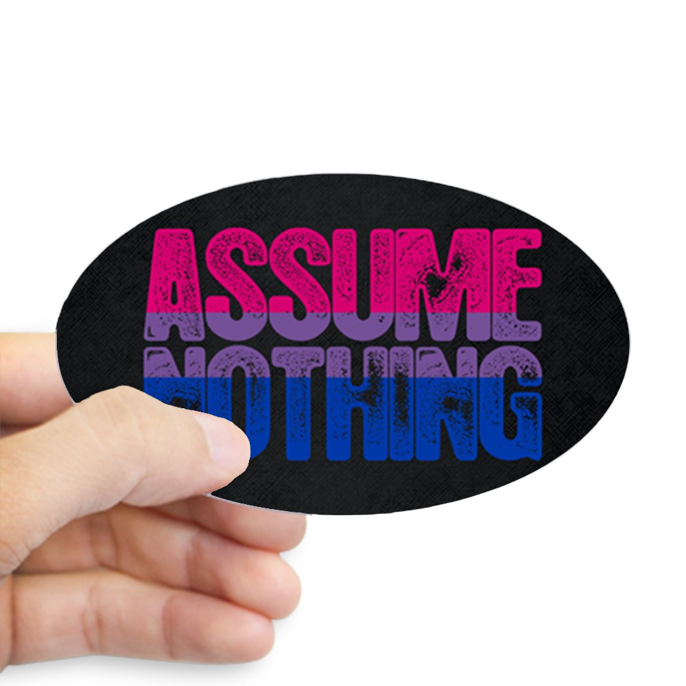 Assume Nothing - Bisexual Pride Oval Sticker