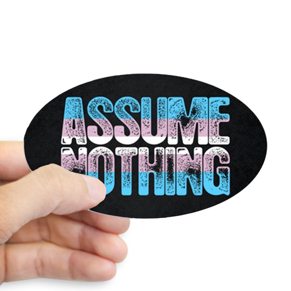 Assume Nothing Transgender Pride Oval Sticker