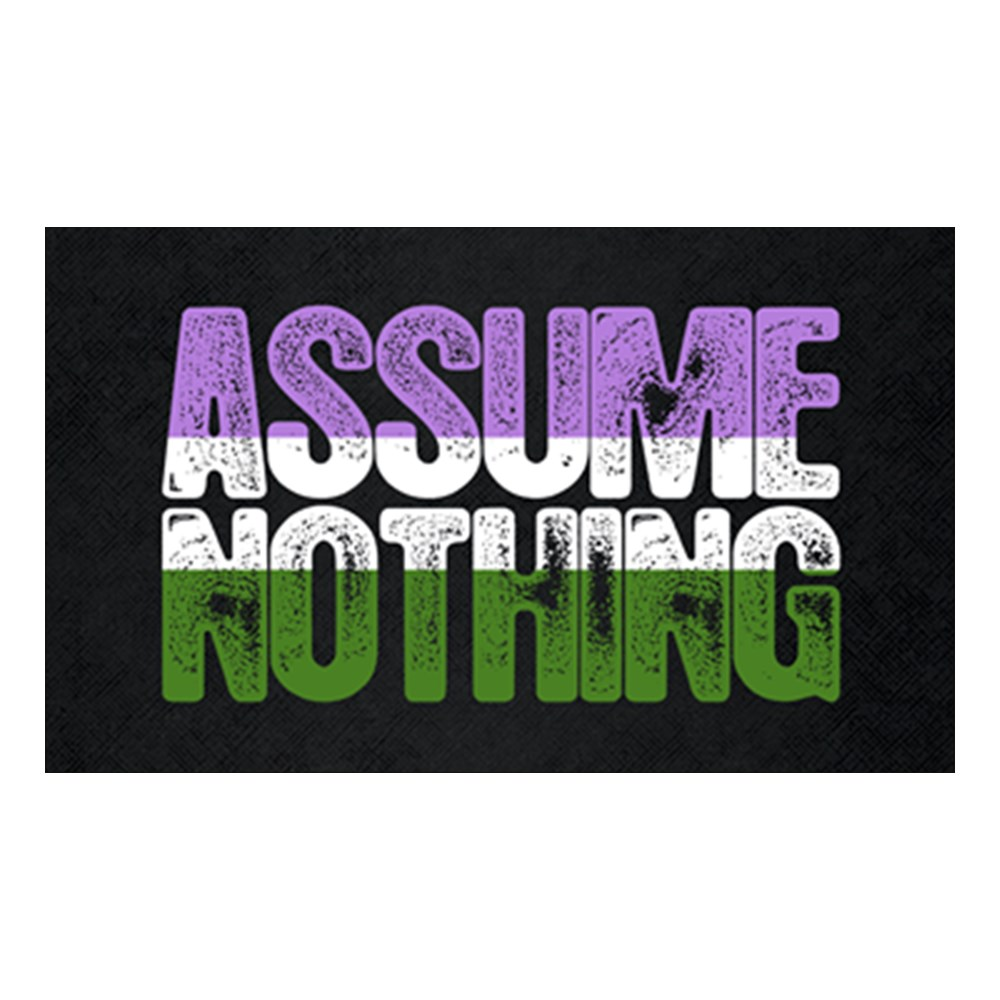 Assume Nothing Genderqueer Pride Rectangle Sticker
