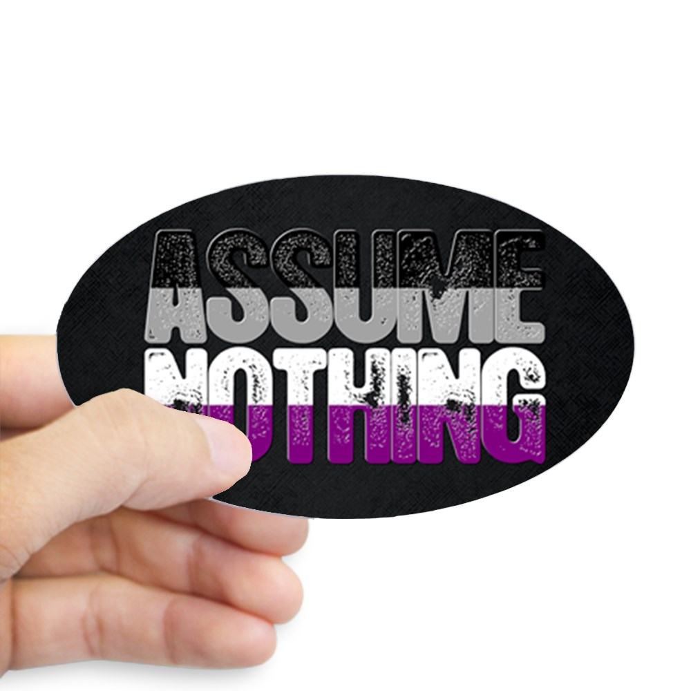 Assume Nothing Asexual Pride Oval Sticker