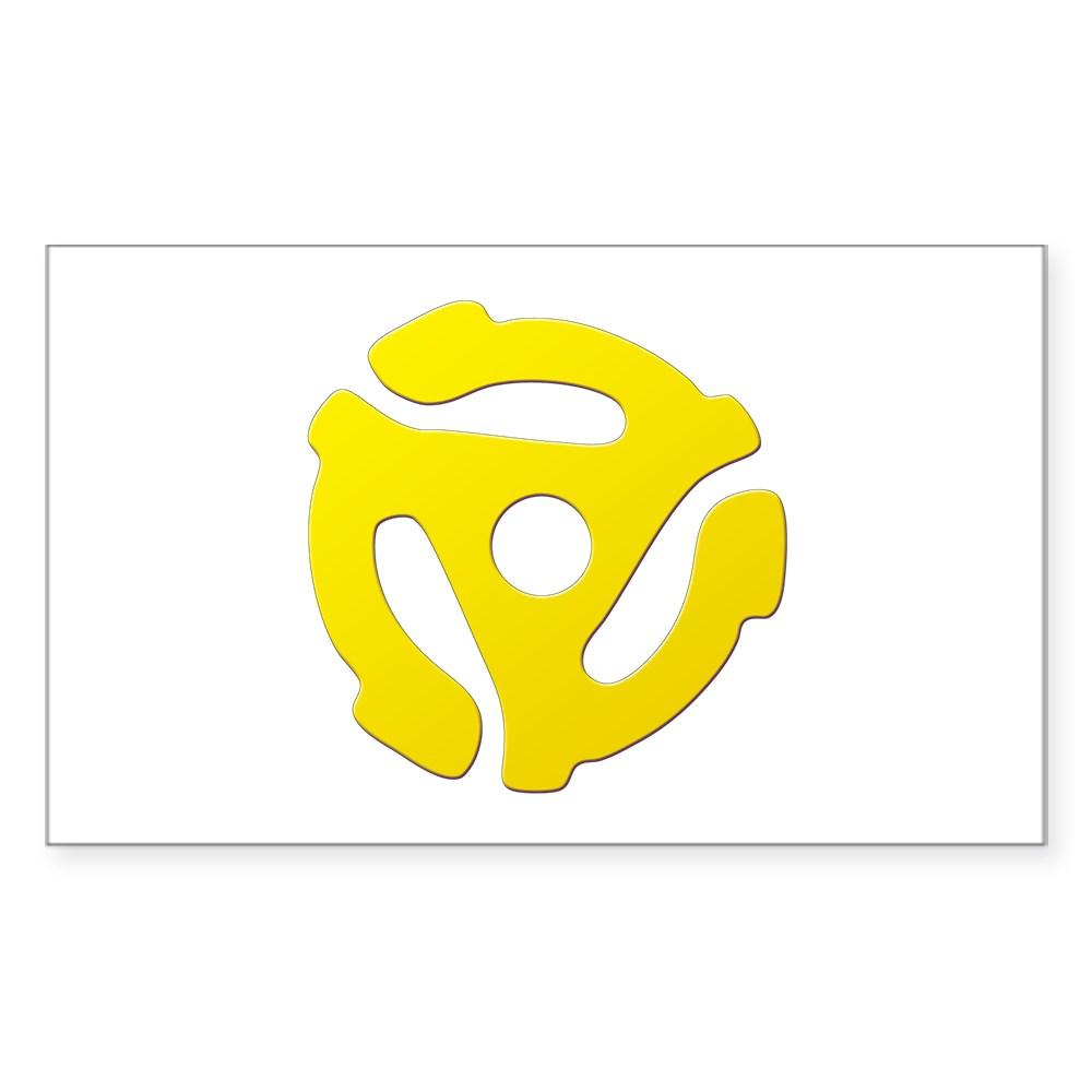 Yellow 45 RPM Adapter Rectangle Sticker