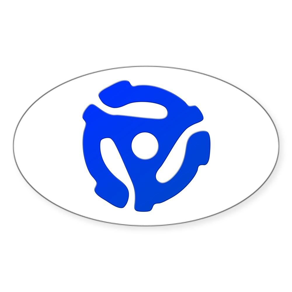 Blue 45 RPM Adapter Oval Sticker
