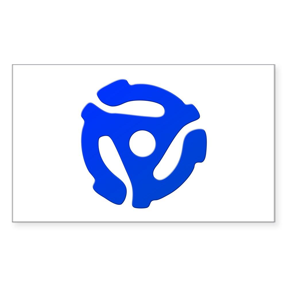 Blue 45 RPM Adapter Rectangle Sticker