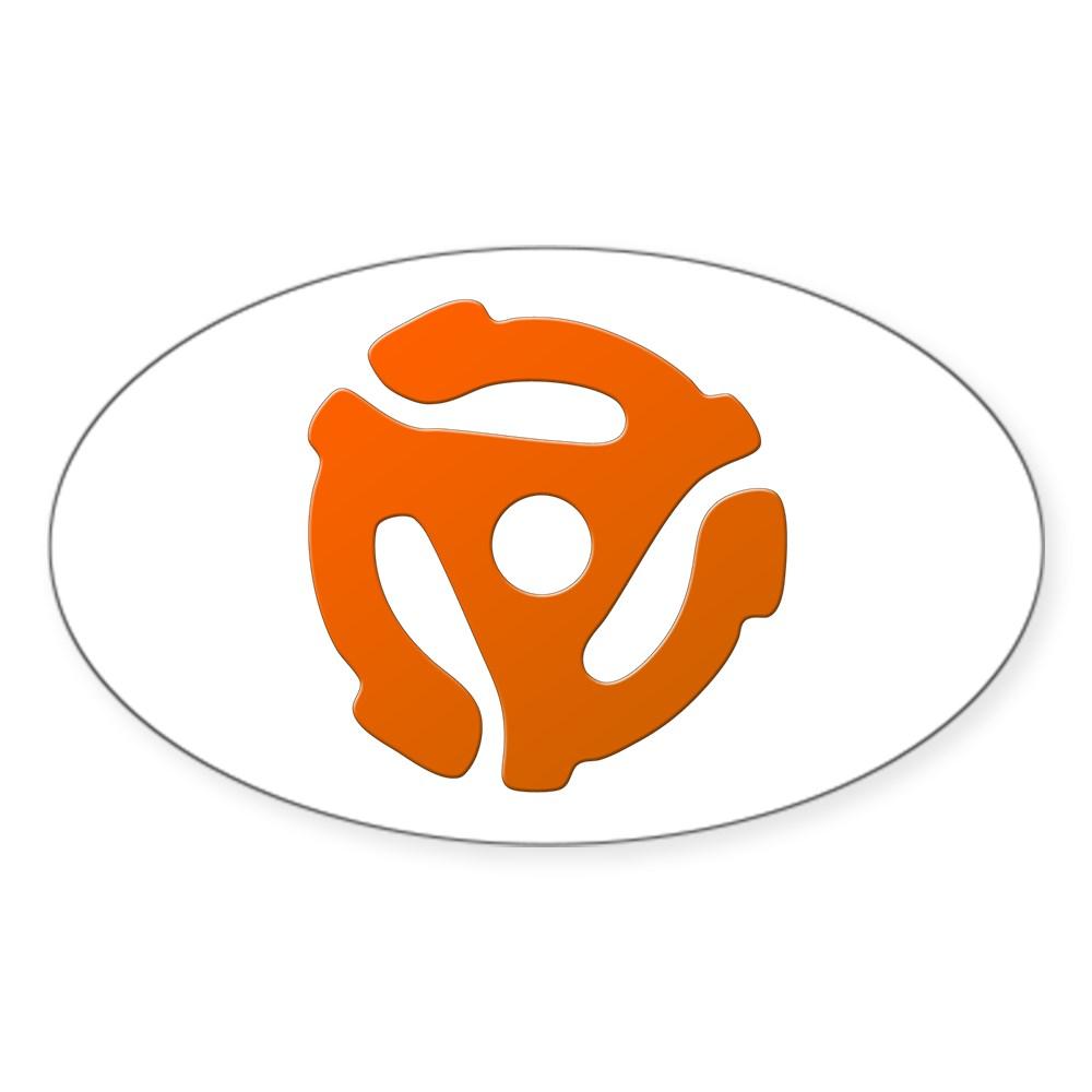 Orange 45 RPM Adapter Oval Sticker