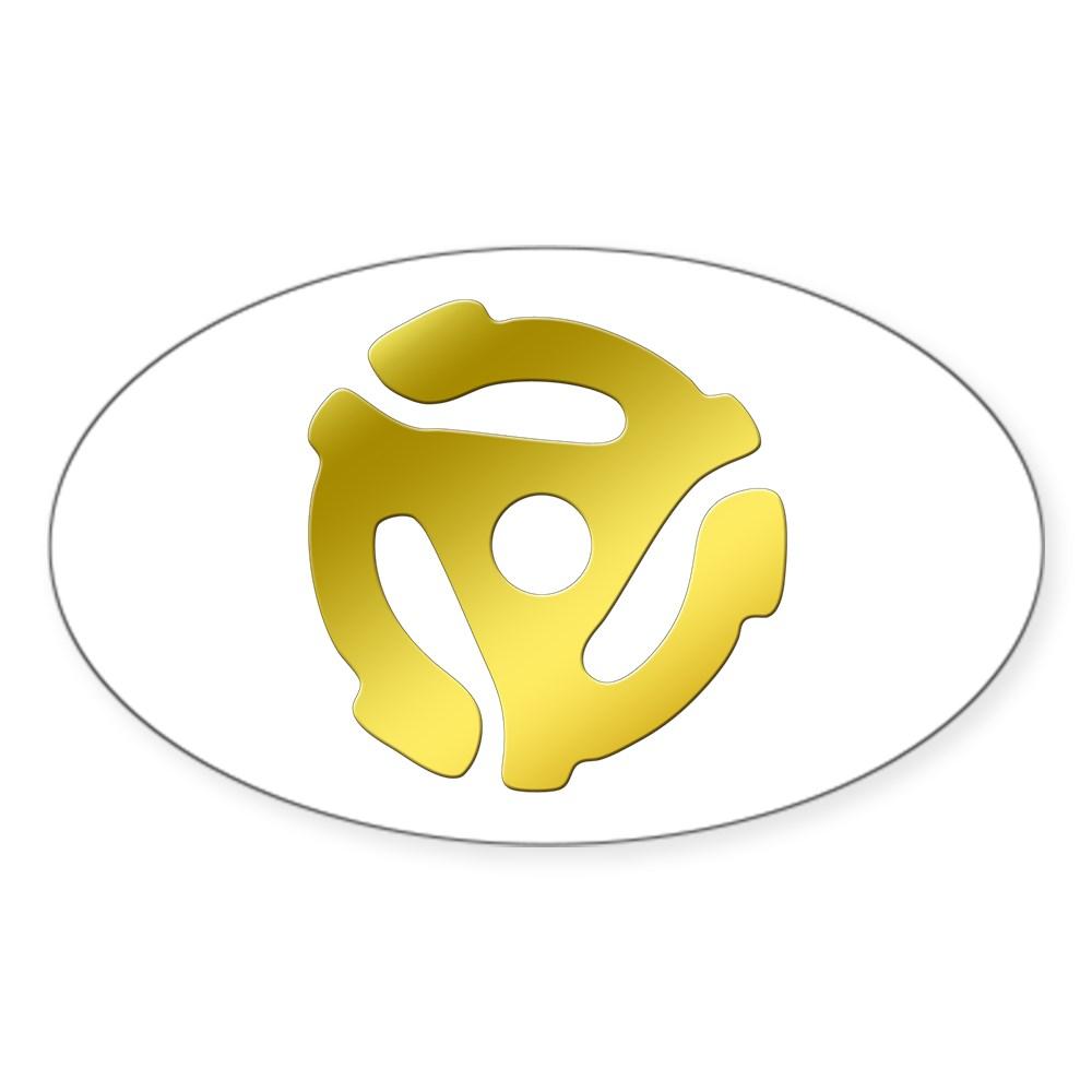 Gold 45 RPM Adapter Oval Sticker