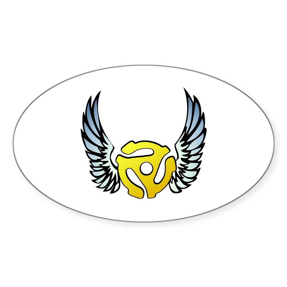 Blue Winged 45 RPM Adapter Oval Sticker