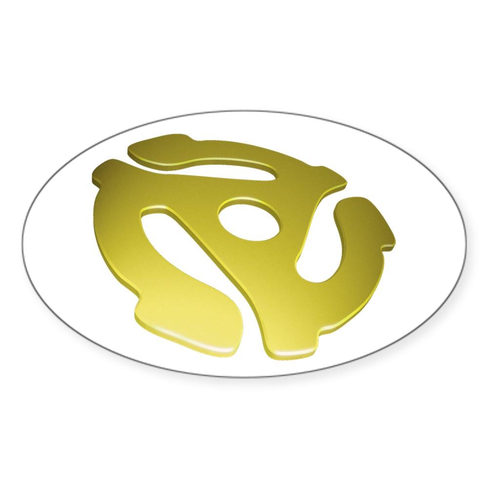 Gold 3D 45 RPM Adapter Oval Sticker