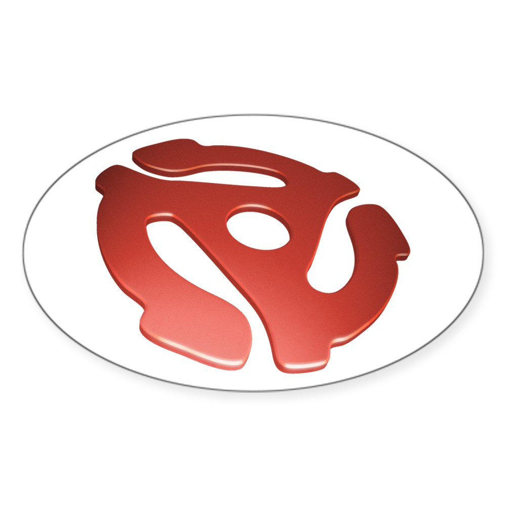 Red 3D 45 RPM Adapter Oval Sticker
