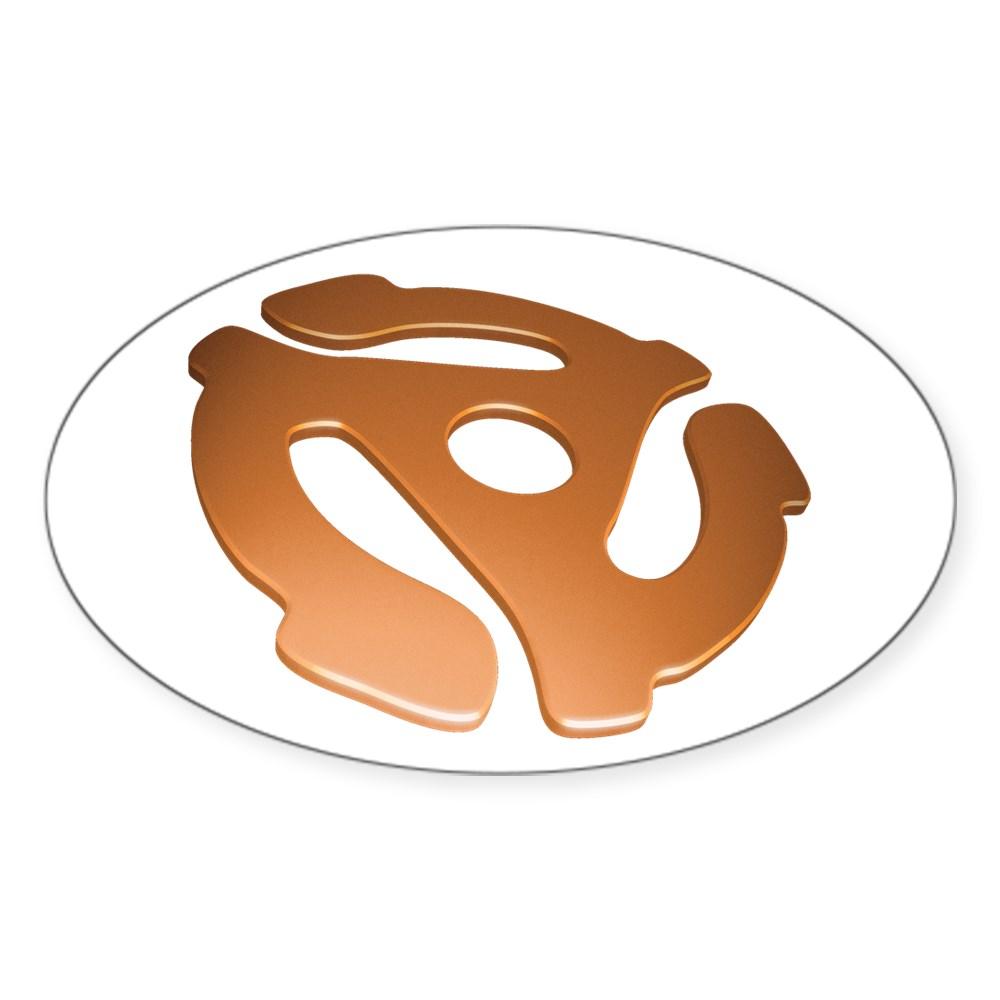 Orange 3D 45 RPM Adapter Oval Sticker