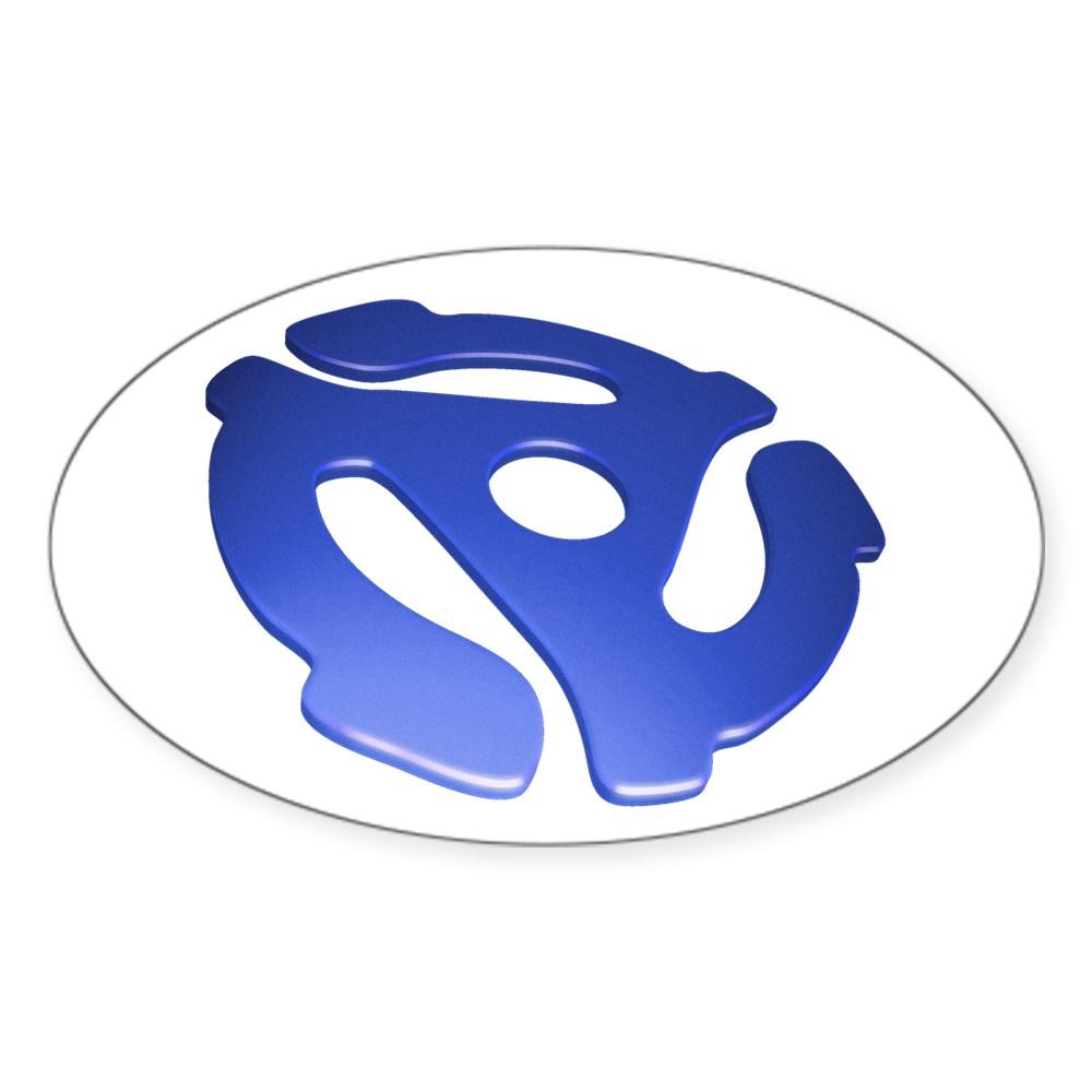 Blue 3D 45 RPM Adapter Oval Sticker
