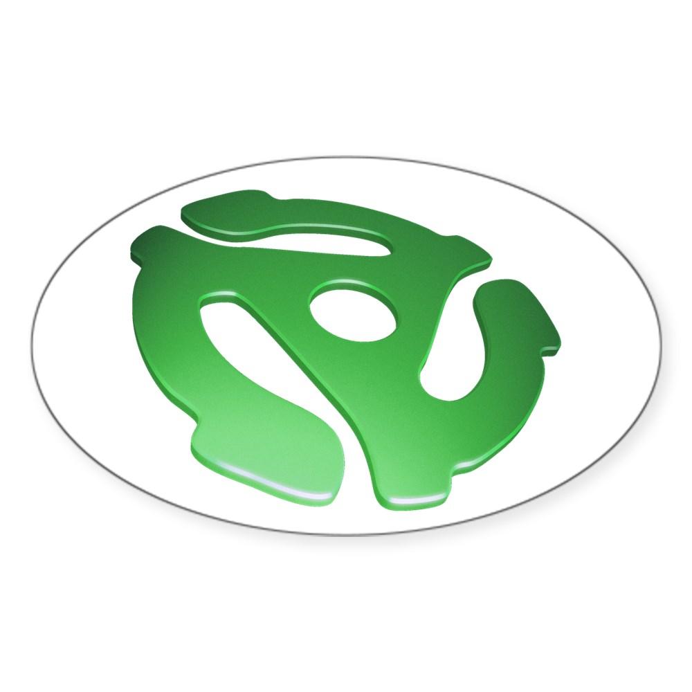 Green 3D 45 RPM Adapter Oval Sticker