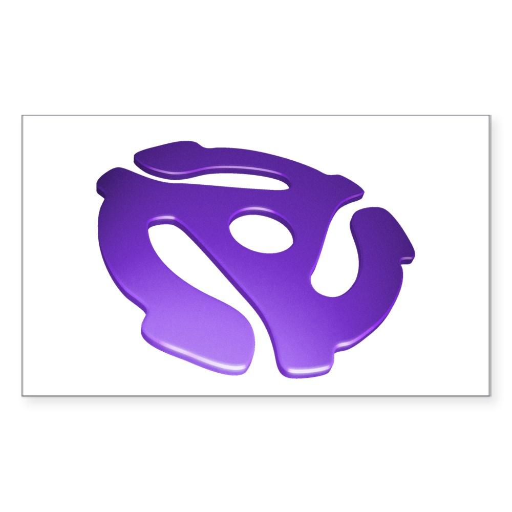 Purple 3D 45 RPM Adapter Rectangle Sticker