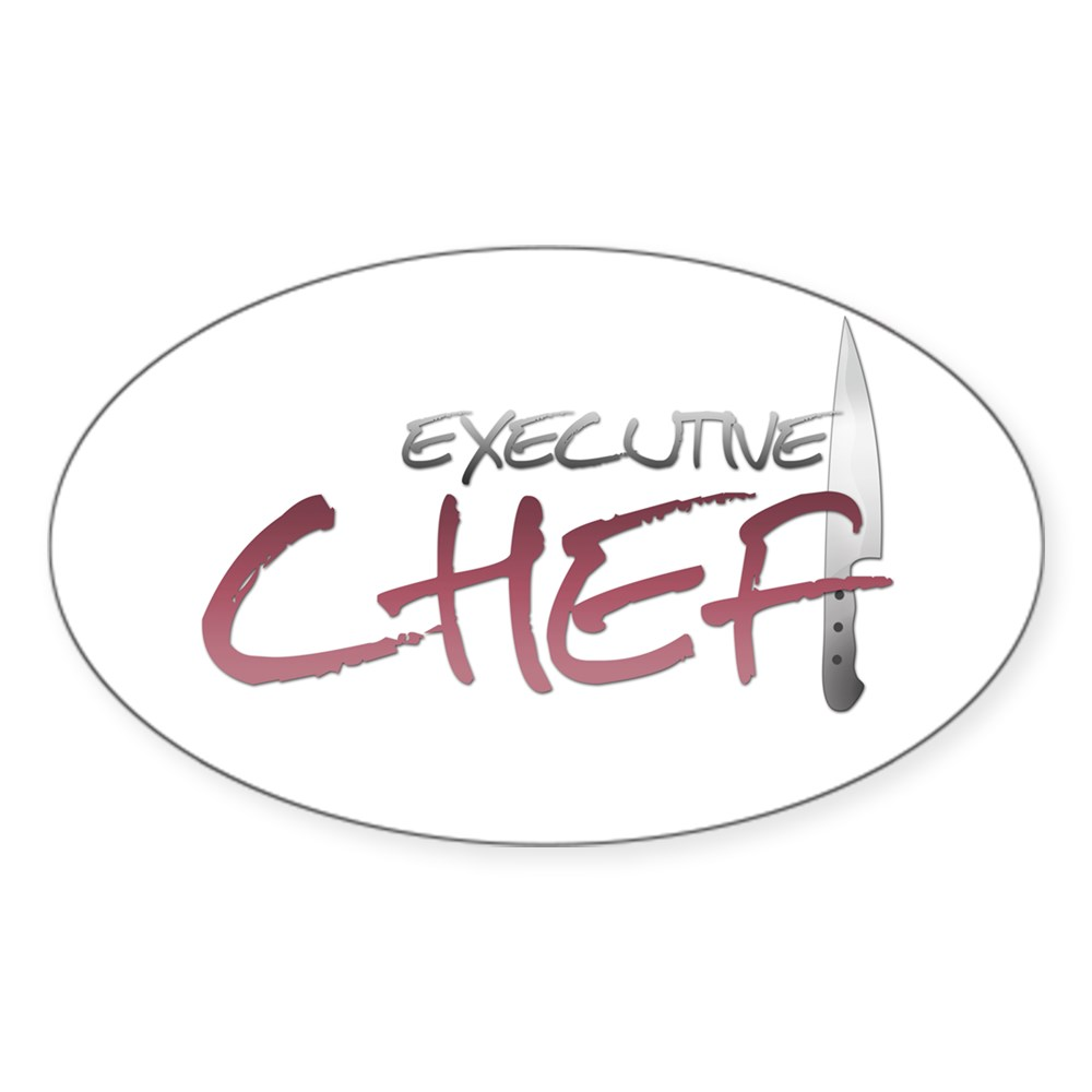 Red Executive Chef Oval Sticker