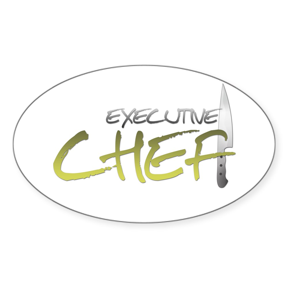 Yellow Executive Chef Oval Sticker