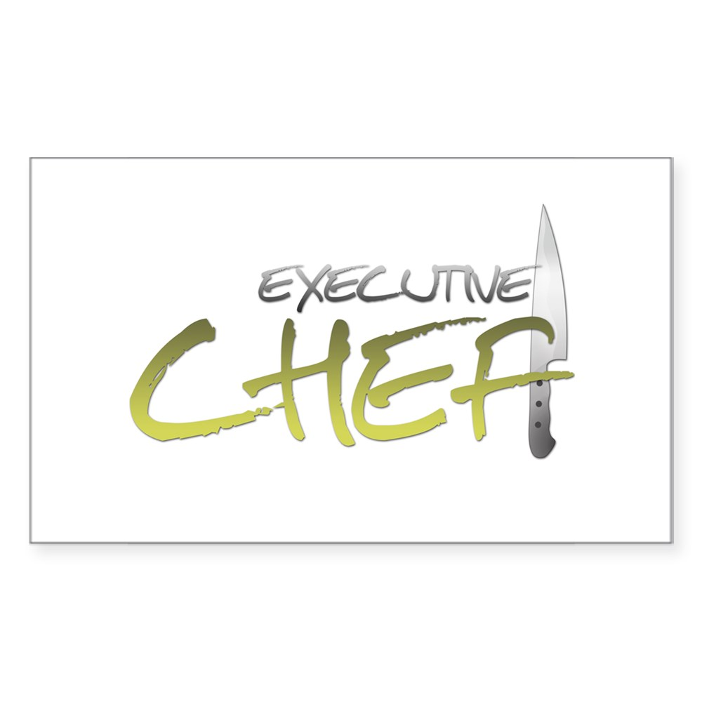 Yellow Executive Chef Rectangle Sticker