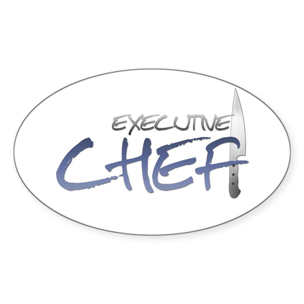 Blue Executive Chef Oval Sticker