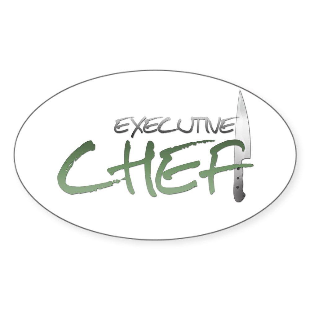 Green Executive Chef Oval Sticker