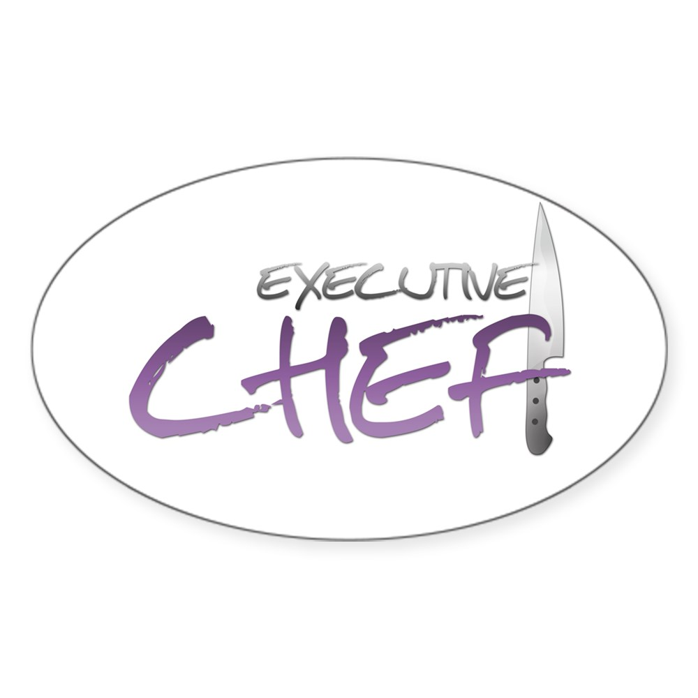 Purple Executive Chef Oval Sticker