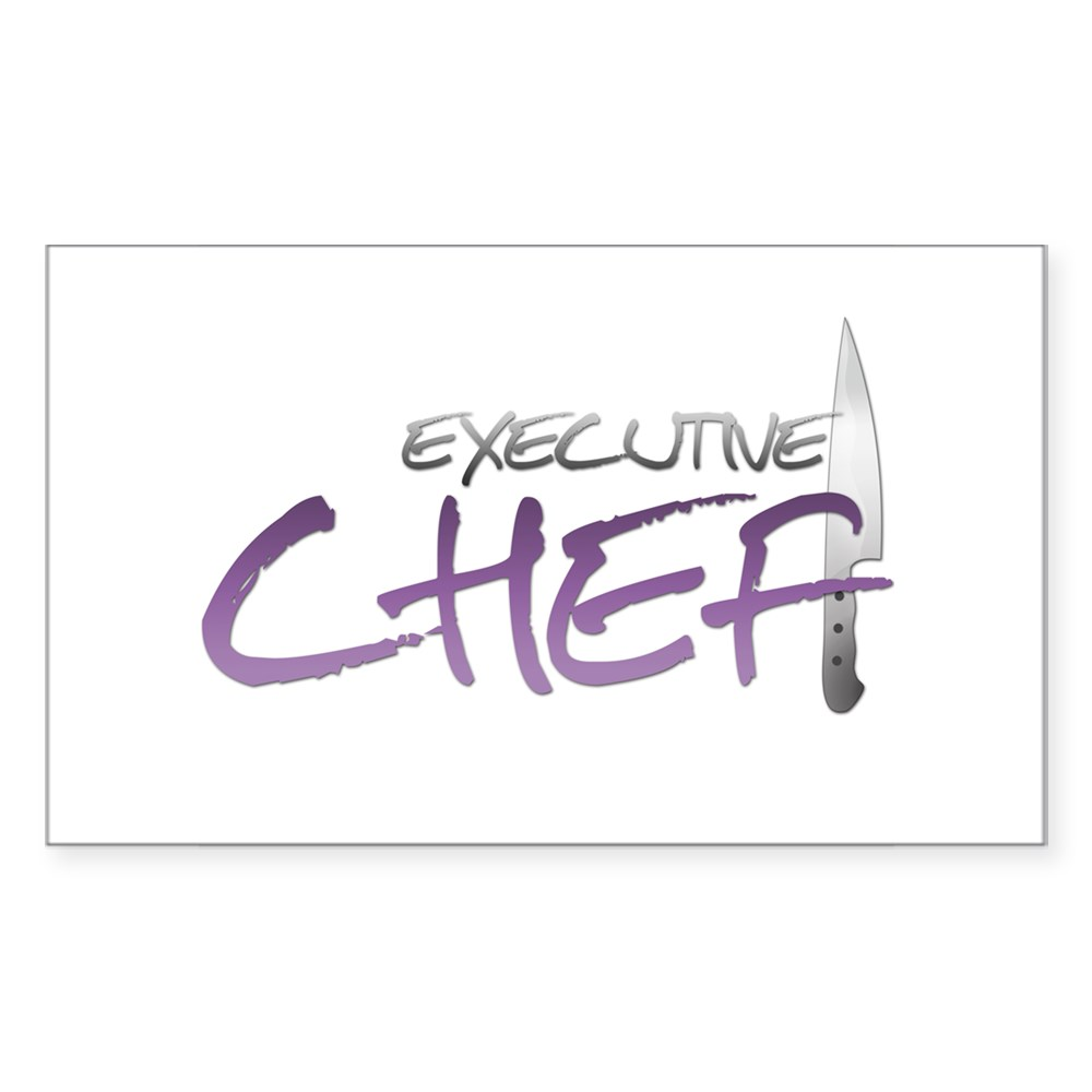 Purple Executive Chef Rectangle Sticker