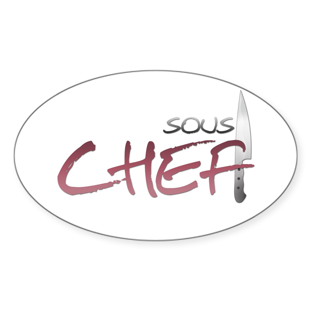 Red Sous Chef Oval Sticker