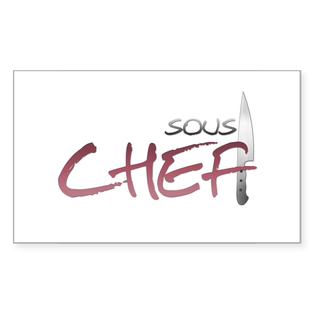 Red Sous Chef Rectangle Sticker