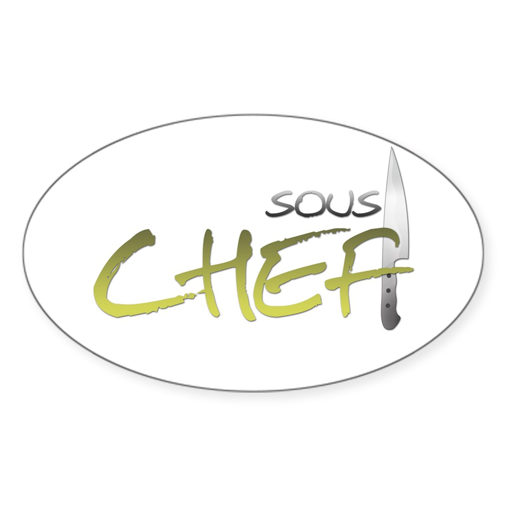 Yellow Sous Chef Oval Sticker