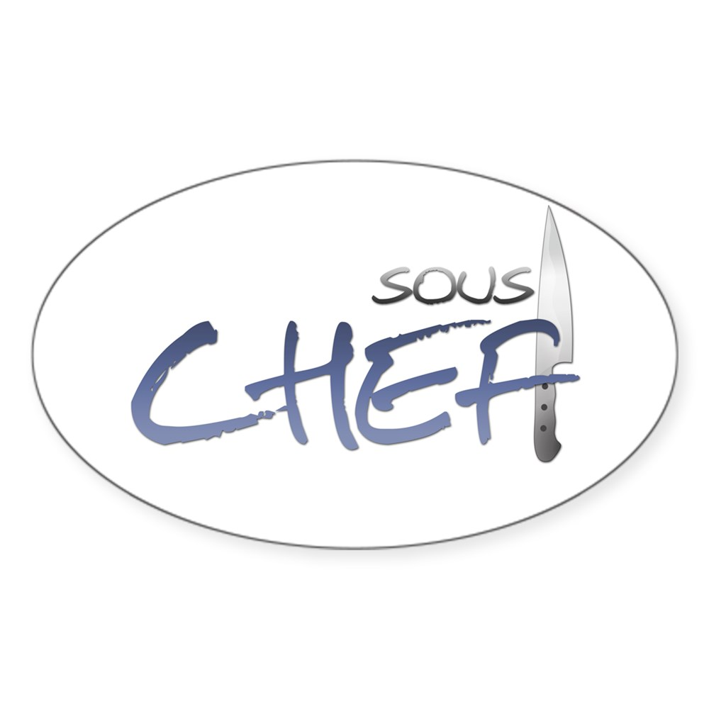 Blue Sous Chef Oval Sticker