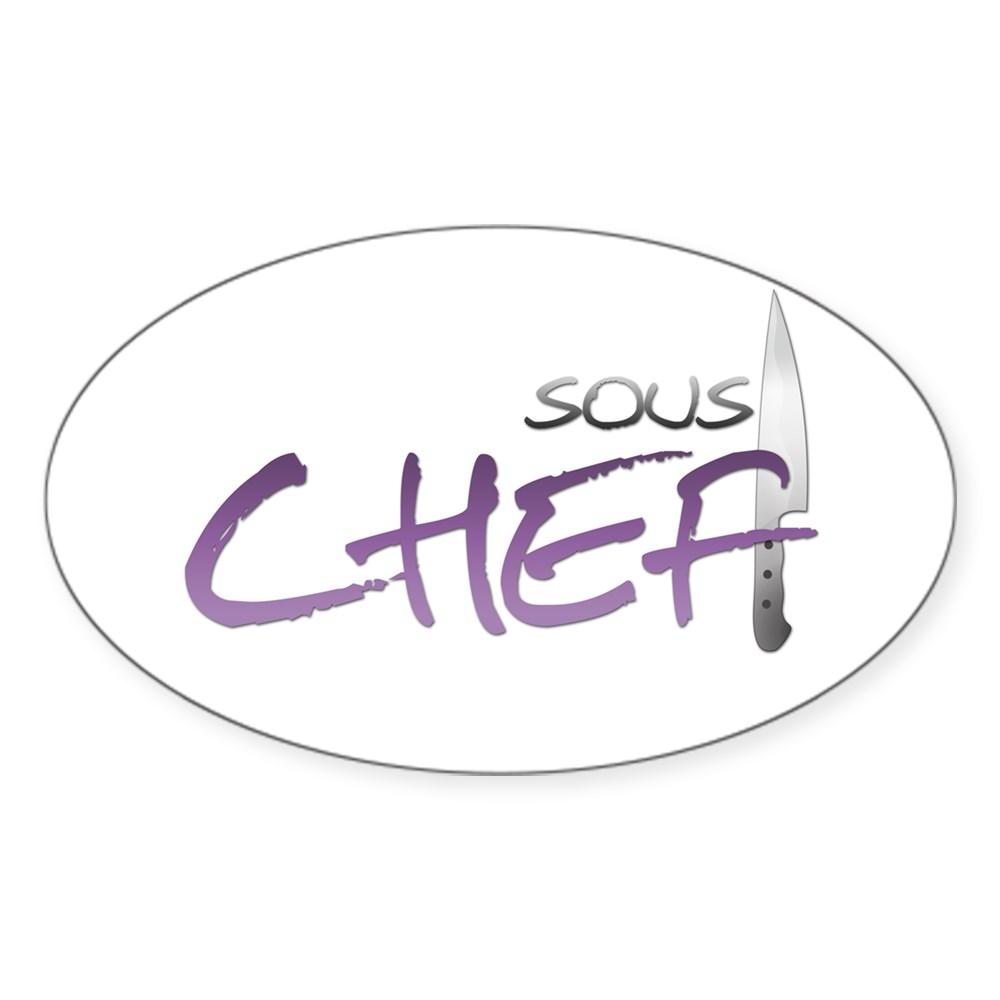 Purple Sous Chef Oval Sticker