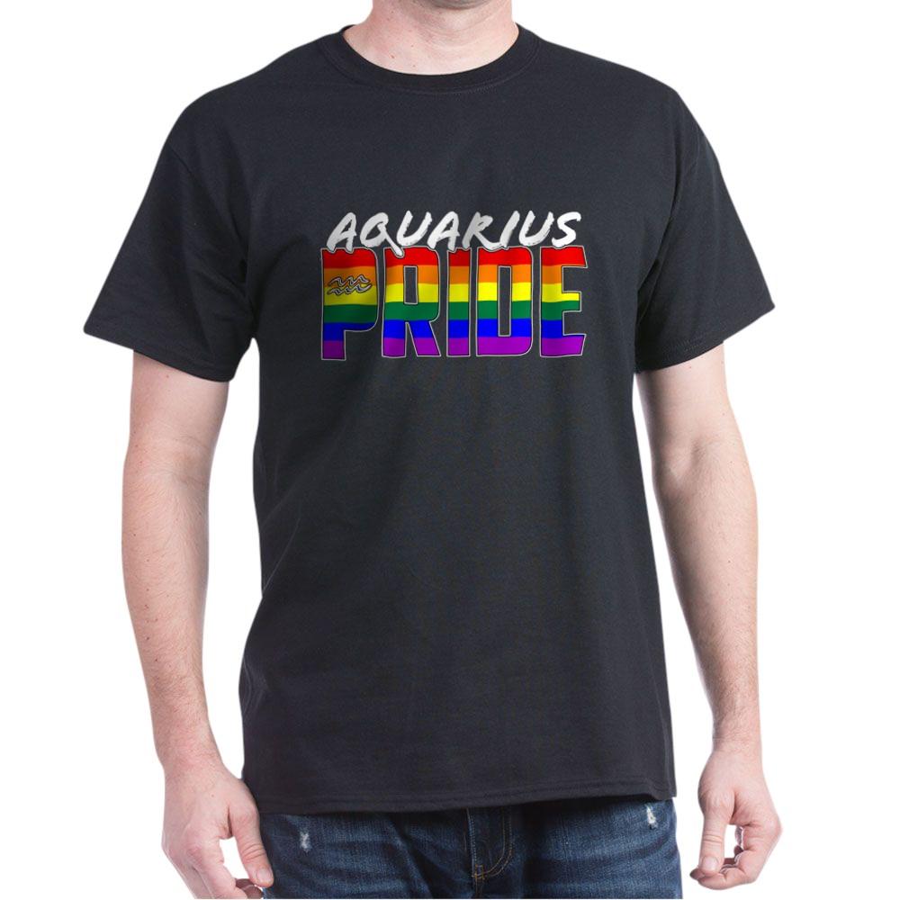 Aquarius LGBT Gay Pride Flag Zodiac Sign Dark T-Shirt