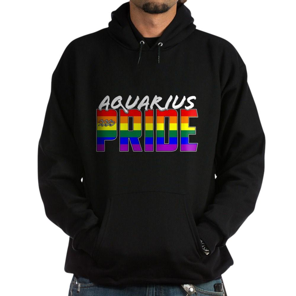 Aquarius LGBT Gay Pride Flag Zodiac Sign Dark Hoodie